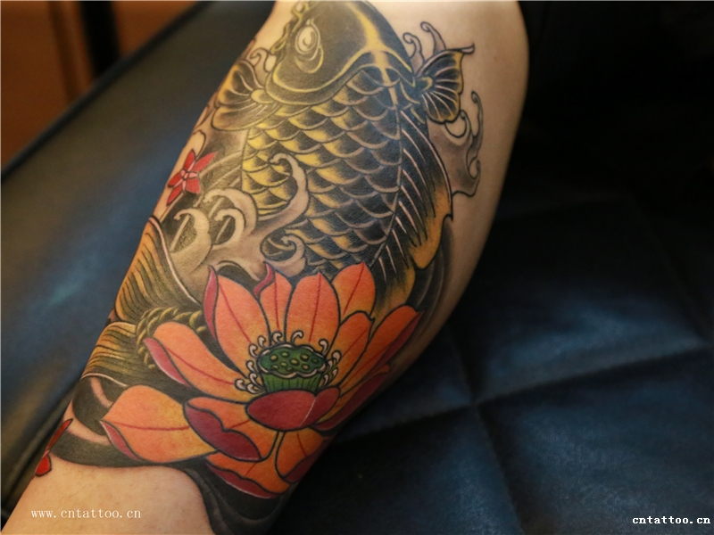 荷花鲤鱼纹身