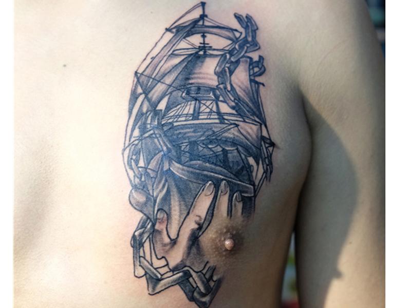 帆船纹身图案