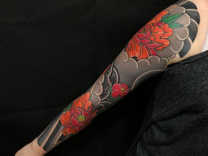 日式半胛彩色纹身图案